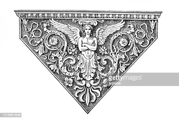 ilustraciones, imágenes clip art, dibujos animados e iconos de stock de ornamento de página vintage - alas de angel