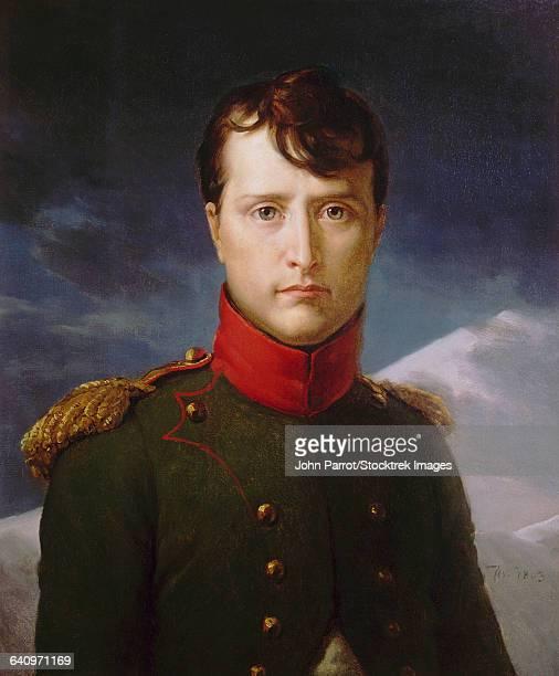vintage painting is titled, napoleon bonaparte premier consul.  - military uniform stock illustrations