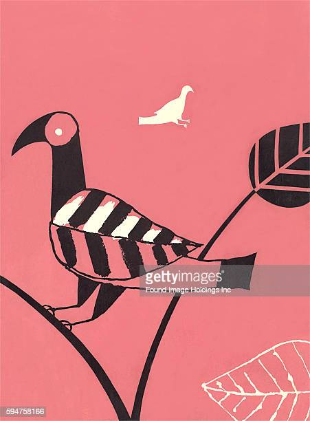 Vintage pink black and white abstract illustration of bird with leaf wing perched on branch