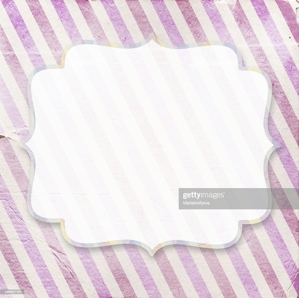 Vintage Pink Diagonal Striped Paper Background With Frame Stock Illustration