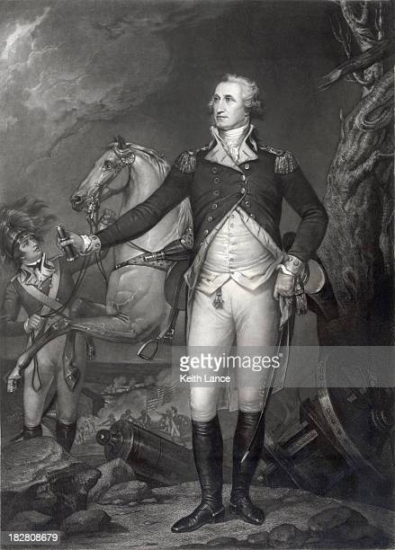 vintage portrait of george washington on the battlefield - president stock illustrations, clip art, cartoons, & icons