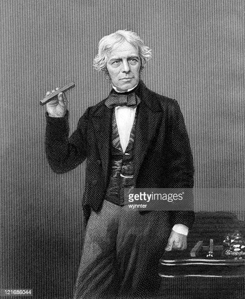 vintage portrait of scientist michael faraday - physicist stock illustrations, clip art, cartoons, & icons