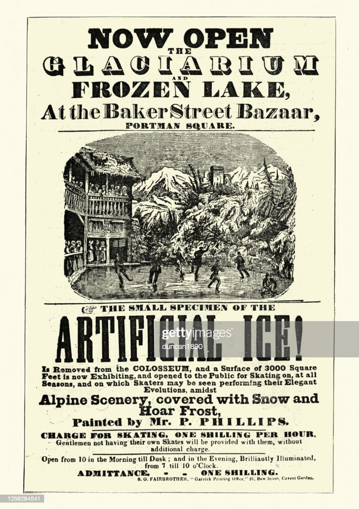 Vintage poster for Glaciarium, world's first mechanically frozen ice rink : stock illustration