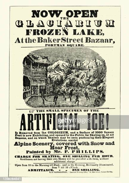 vintage poster for glaciarium, world's first mechanically frozen ice rink - ice skating stock illustrations