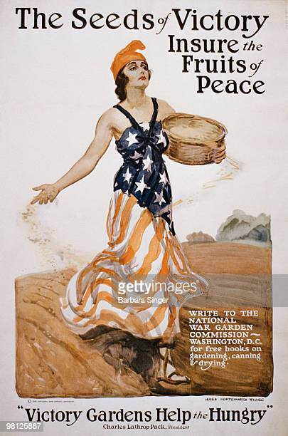 Vintage poster of woman draped in American flag