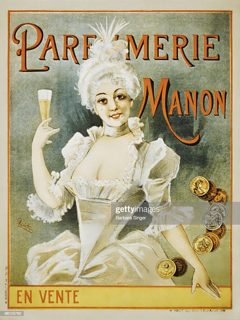 Vintage poster of woman holding champagne flute : Stock Illustration