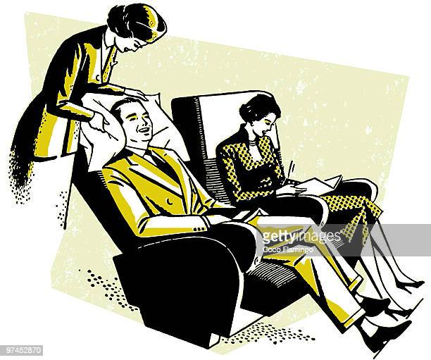 A vintage print of a flight attendant tending to a customer