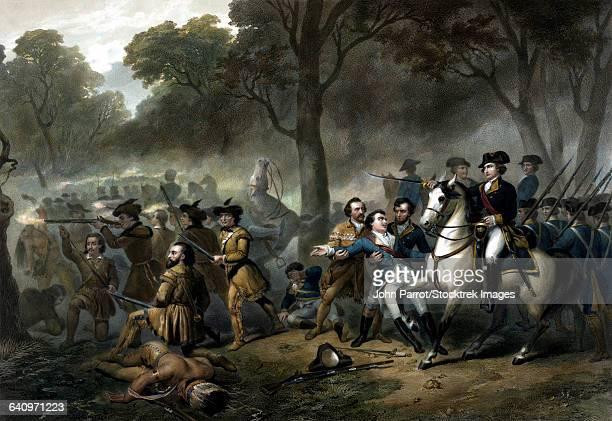 vintage print of george washington on horseback leading troops at the battle of the monongahela. - american revolution stock illustrations