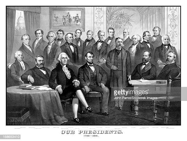 ilustrações, clipart, desenhos animados e ícones de vintage print of the first twenty-one presidents seated together in the white house. - thomas jefferson