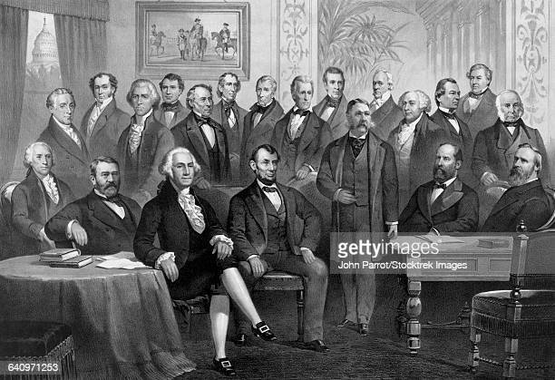 vintage print of the first twenty-one presidents seated together in the white house. - us president stock illustrations
