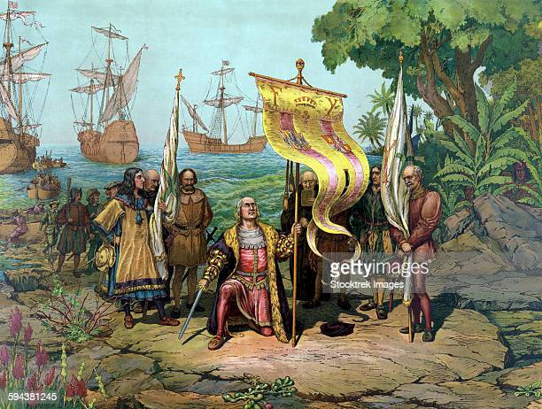 vintage print of the italian explorer, christopher columbus, taking possession of the new country. - circa 15th century stock illustrations, clip art, cartoons, & icons