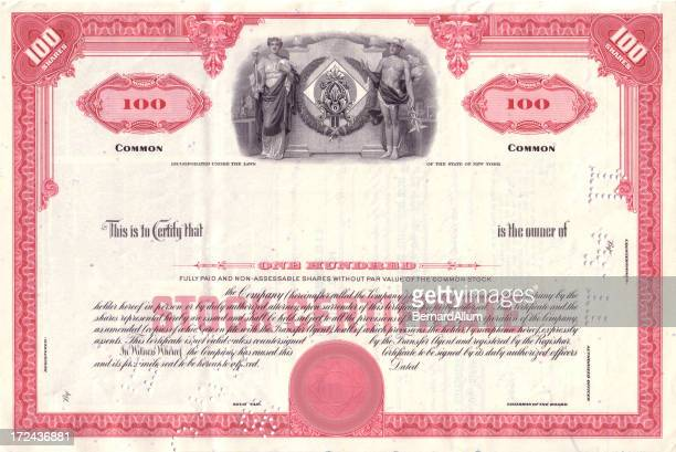vintage red share certificate - vintage stock stock illustrations