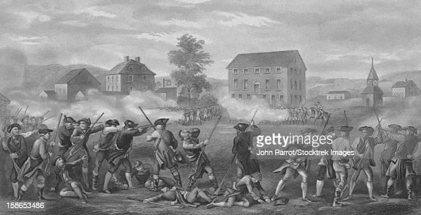 ilustrações, clipart, desenhos animados e ícones de vintage revolutionary war print of american minutemen being fired upon by british troops at lexington, massachusetts. - american revolution
