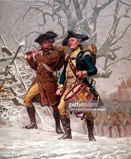 Vintage Revolutionary War Print of American minutemen being led into battle by a drummer and a soldier playing a flute.