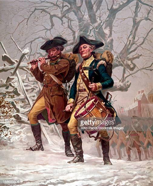 ilustrações, clipart, desenhos animados e ícones de vintage revolutionary war print of american minutemen being led into battle by a drummer and a soldier playing a flute. - american revolution