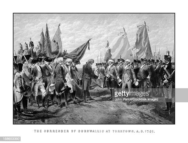 vintage revolutionary war print showing the surrender of british troops to general george washington and the continental army. it reads, the surrender of cornwallis at yorktown. a.d. 1781. - battlefield stock illustrations, clip art, cartoons, & icons