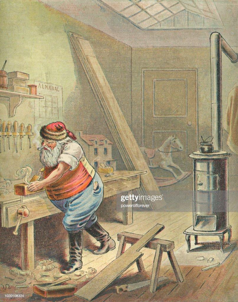 Vintage Santa Claus Working In His Workshop stock