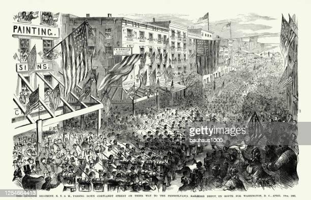 vintage seventh regiment on their way to the pennsylvania railrod depot en route for washington, d.c., april 1861american civil war engraving - military parade stock illustrations