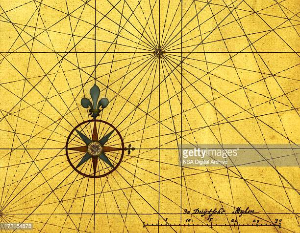 vintage style design with compass rose and scale - north stock illustrations