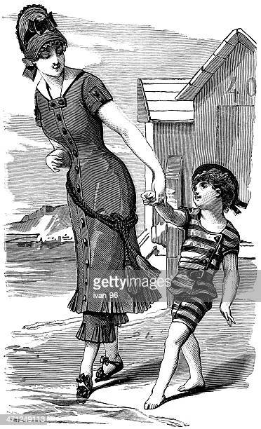 vintage style drawing of a woman and her child in a swimsuit - swimwear stock illustrations, clip art, cartoons, & icons