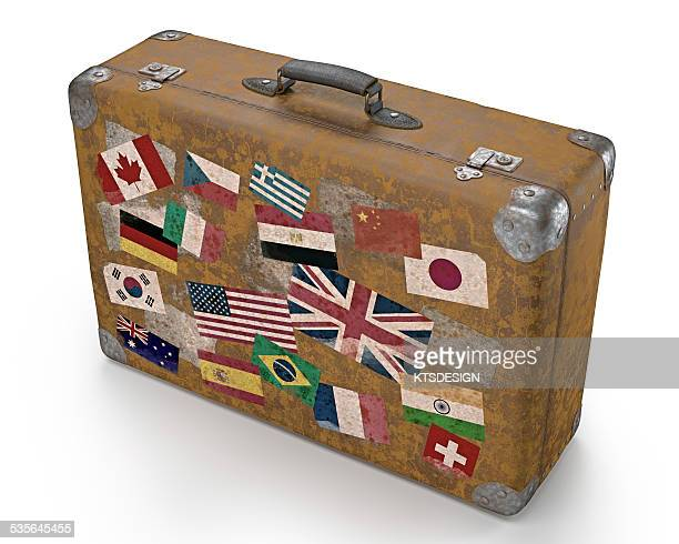 vintage suitcase with stickers - travel tag stock illustrations, clip art, cartoons, & icons