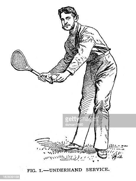 vintage tennis - leisure activity stock illustrations, clip art, cartoons, & icons