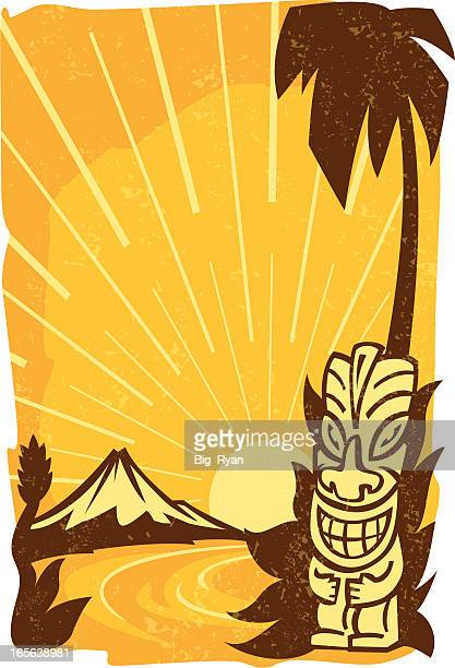 vintage tiki - hawaiian ethnicity stock illustrations, clip art, cartoons, & icons