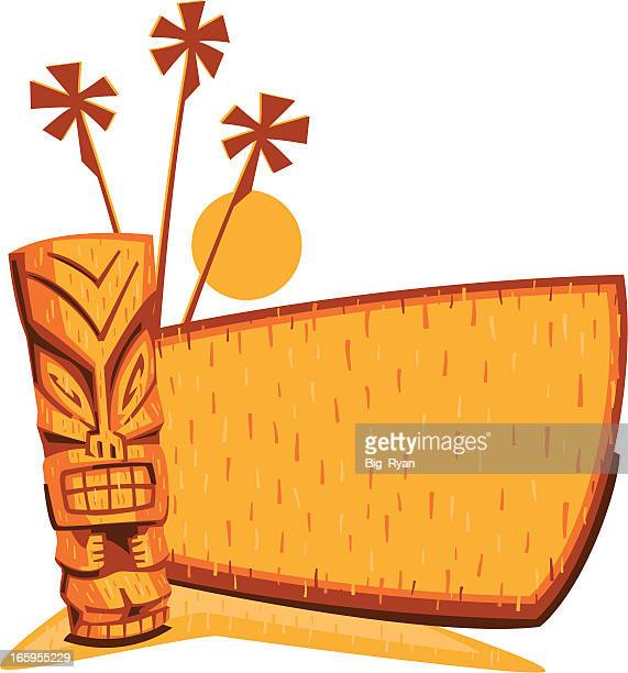 vintage tiki sign - hawaiian ethnicity stock illustrations, clip art, cartoons, & icons