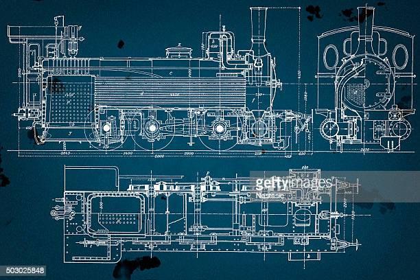 vintage eisenbahn technische zeichnung - technische zeichnung stock-grafiken, -clipart, -cartoons und -symbole
