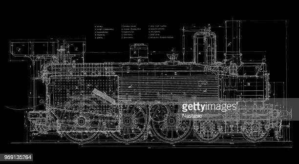 vintage train blueprint - boiler stock illustrations, clip art, cartoons, & icons