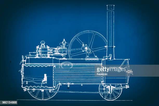 vintage train blueprint - desaturated stock illustrations, clip art, cartoons, & icons