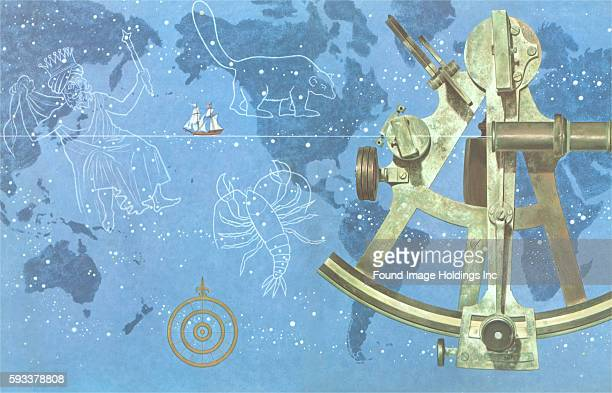 Vintage travel poster illustration of a blue map of the world with a sailing ship on the high seas celestial navigation constellations a sextant and...