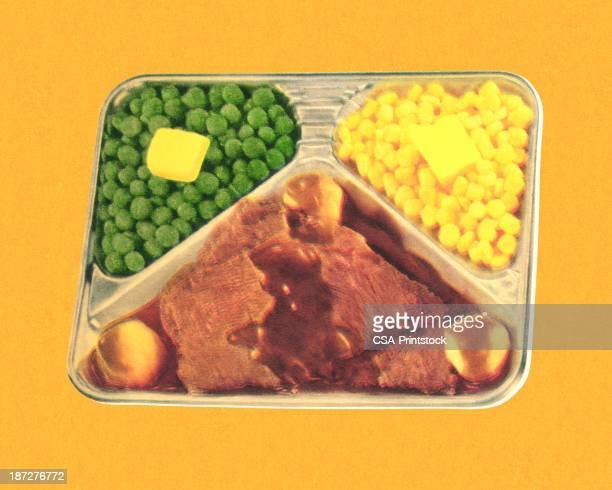 vintage tv dinner - sirloin steak stock illustrations, clip art, cartoons, & icons