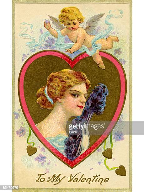 a vintage valentine card with cupid flying over a woman with a feather fan - cherub stock illustrations