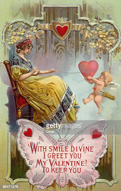 A vintage Valentines Day card with a woman pulling in a heart with string around it and cupid holding on