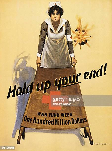 Vintage war poster of Red Cross nurse holding gurney