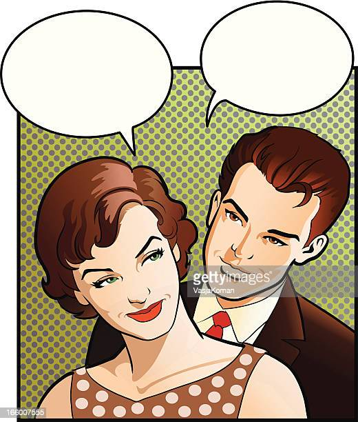 vintage woman and her man - teasing stock illustrations, clip art, cartoons, & icons