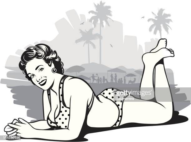 vintage woman in beach - pin up girl stock illustrations, clip art, cartoons, & icons