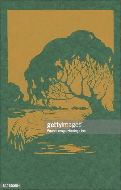 Vintage woodcut illustration of tree and pond from he 1920s