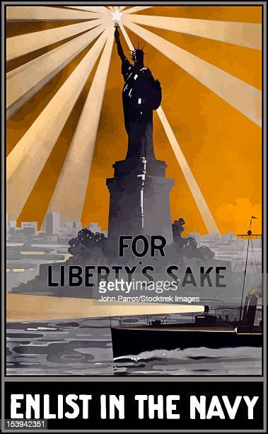 ilustraciones, imágenes clip art, dibujos animados e iconos de stock de vintage world war i poster featuring a ship with a spotlight sailing past the statue of liberty. it reads, for liberty's sake, enlist in the navy. - primera guerra mundial