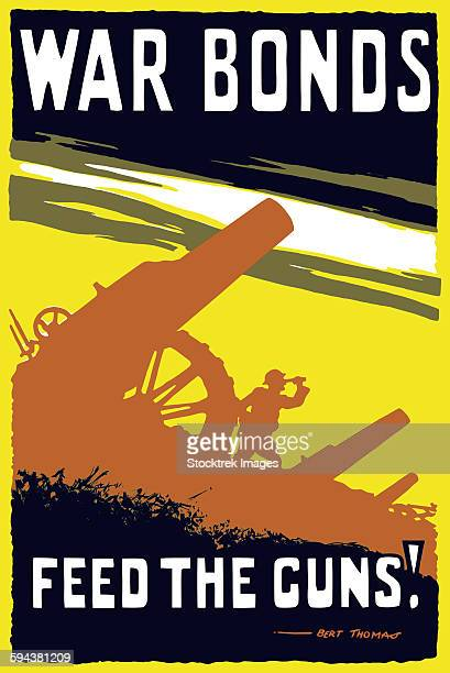 vintage world war i poster featuring soldiers operating an artillery gun. - historical document stock illustrations, clip art, cartoons, & icons