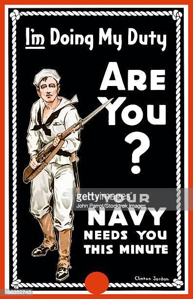 ilustraciones, imágenes clip art, dibujos animados e iconos de stock de vintage world war i poster of a sailor holding a bayonet fitted rifle. - primera guerra mundial
