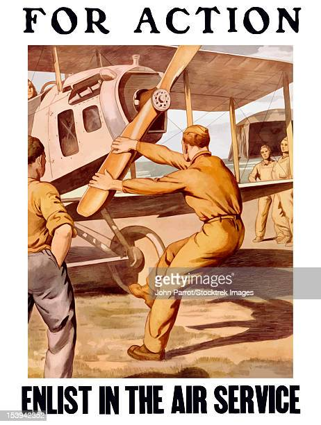 Vintage World War I poster of a U.S. airman cranking the propeller of an airplane outside a hanger. It reads, For Action, Enlist In The Air Service.