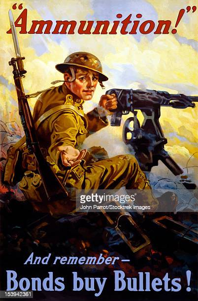 ilustraciones, imágenes clip art, dibujos animados e iconos de stock de vintage world war i poster of a u.s. soldier firing a machine gun on a battlefield. his hand is reaching for more ammo. it reads, ammunition! and remember - bonds buy bullets! - primera guerra mundial