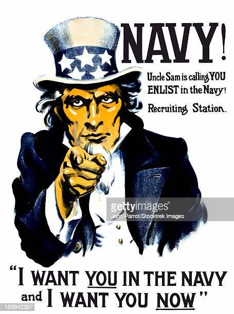 Vintage World War I poster of Uncle Sam pointing at the reader.