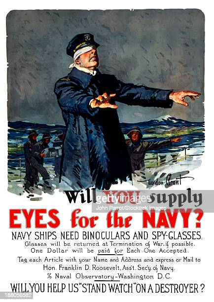vintage world war i propaganda poster featuring a blindfolded ship captain. - us navy stock illustrations, clip art, cartoons, & icons