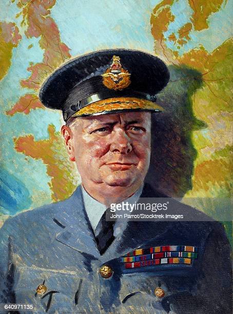 Vintage World War II painting of Winston Churchill wearing his RAF uniform.