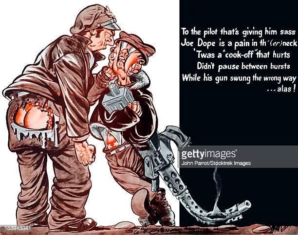 Vintage World War II poster of a cartoon pilot choking a gunner holding a machine gun.