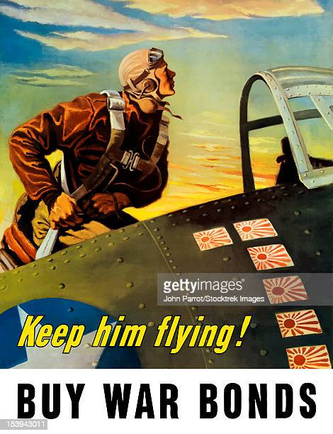 vintage world war ii poster of a fighter pilot climbing into his airplane. it reads, keep him flying! buy war bonds. - us air force stock illustrations, clip art, cartoons, & icons