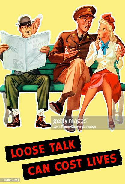 Vintage World War II poster of a soldier talking to his girl on a bench, as Hitler eavesdrops while reading the newspaper. It reads, Loose Talk Can Cost Lives.